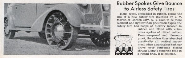 Wheels without air in 1938 of wood and rubber
