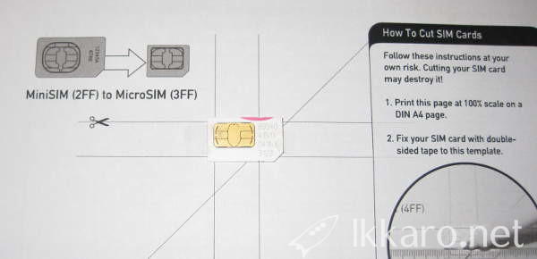 Template to cut the SIM card